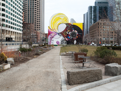 Public Art and Outdoor Seating Along Boston's Greenway
