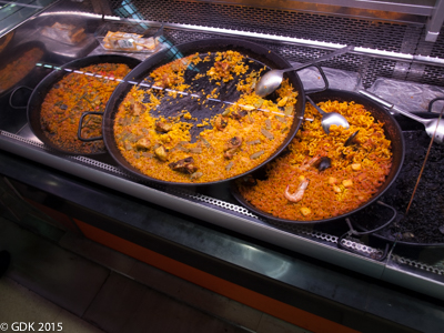 Paella for Sale at the Mercado Central in Valencia, Spain