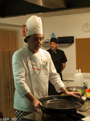 Paella Pan Ready for Action at Escuela de Arroces y Paella Valenciana Paella School