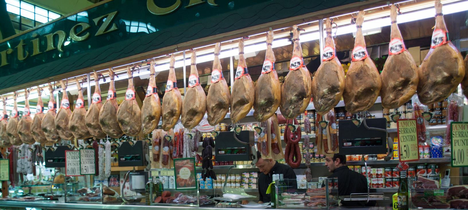 Spanish Hams at Valencia's Russafa Market