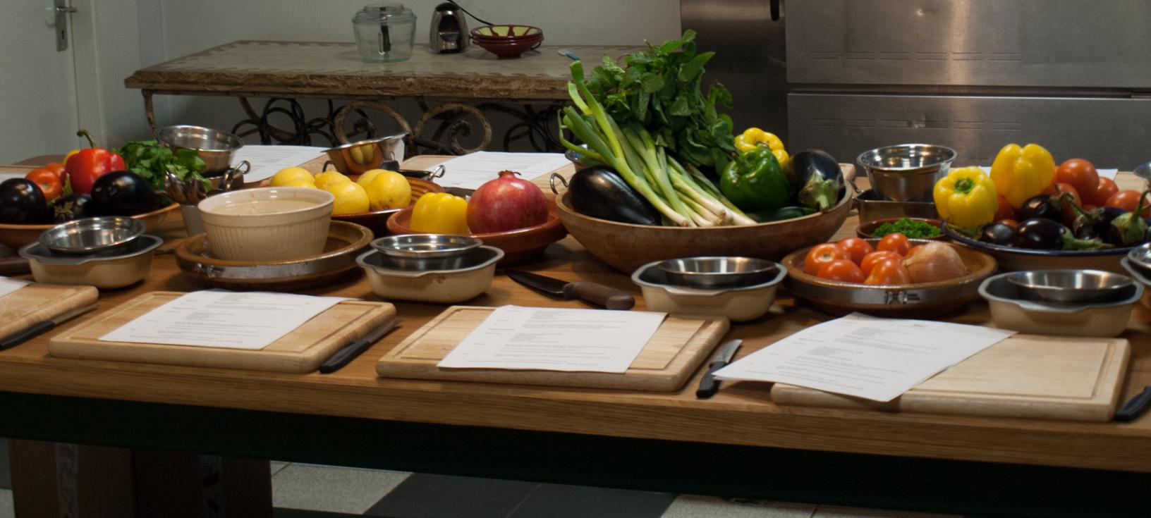 """Student Desks"" at Silk Road Kitchen's Cookery School"