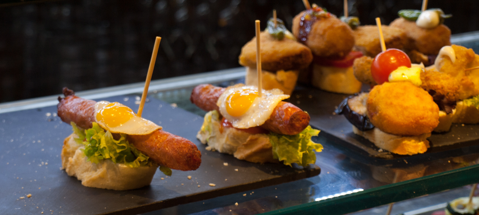 Egg Pinchos (Pintxos) in Valencia, Spain